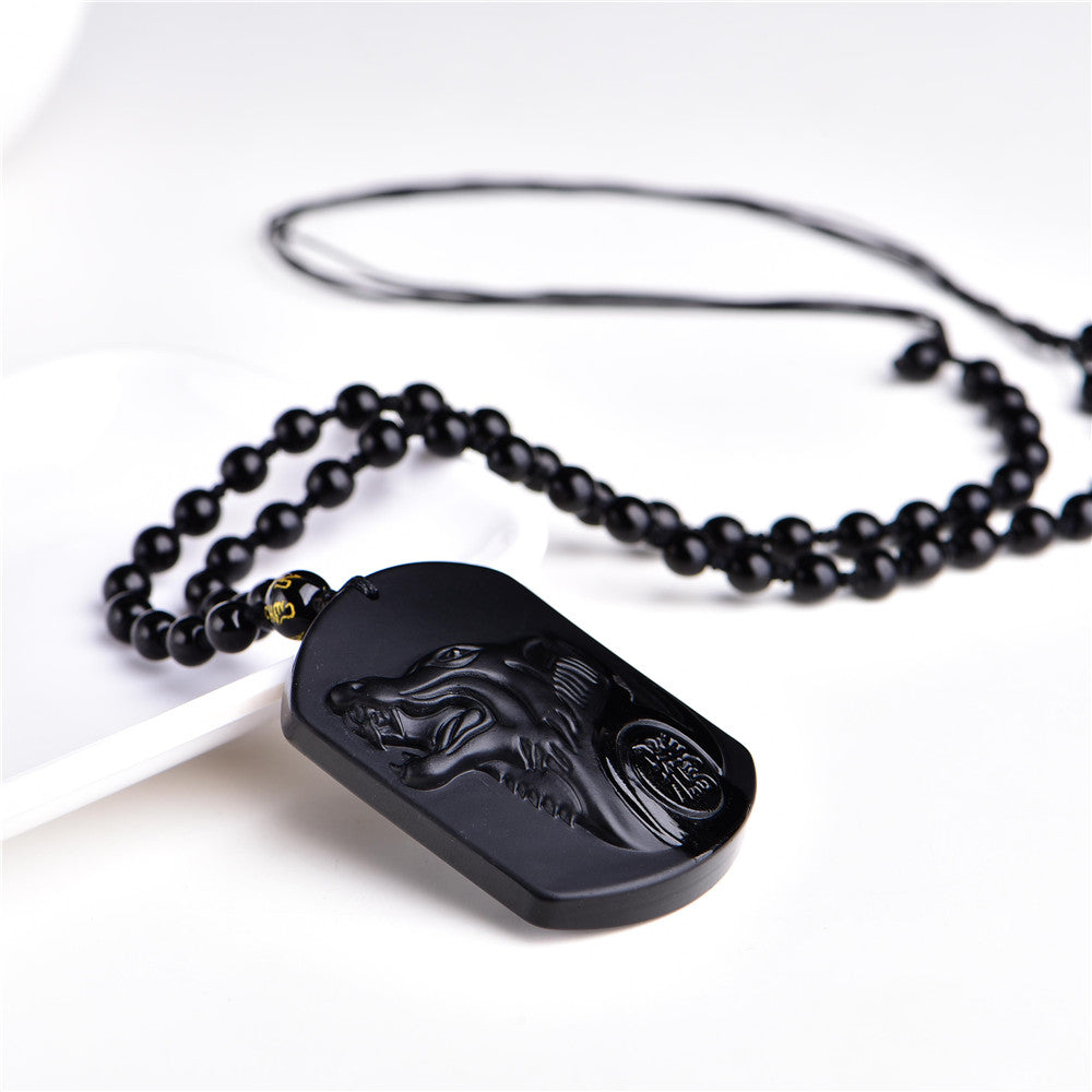Wolf Black Obsidian Necklace