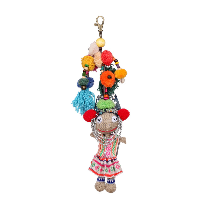 Handmade crocheted Hmong hill tribe girl keychain ACCV001