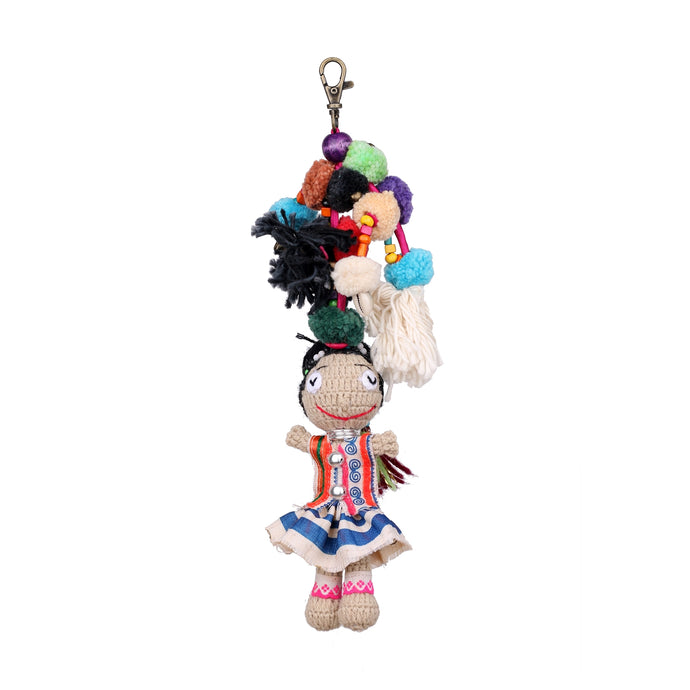 Handmade crocheted Hmong hill tribe girl keychain ACCV002