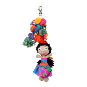 Handmade crocheted happy Hawaiian girl keychain ACCV003