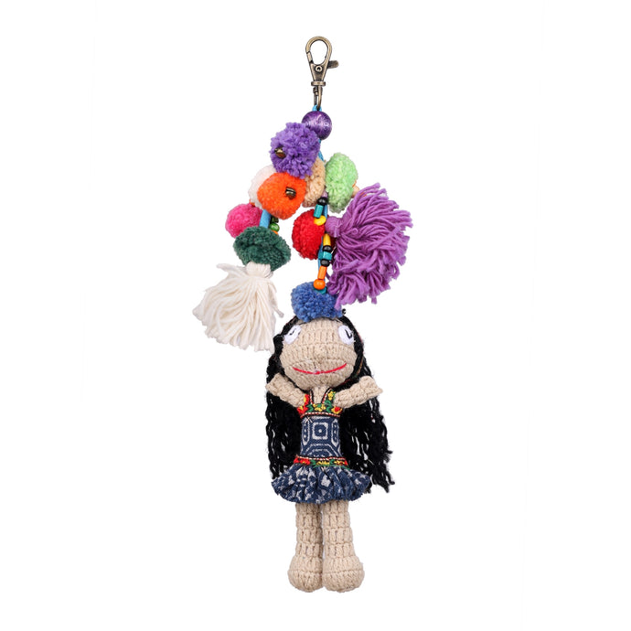Handmade crocheted Hmong hill tribe girl keychain ACCV004