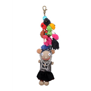 Handmade crocheted Hmong hill tribe girl keychain ACCV005