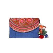 Load image into Gallery viewer, Blue vintage crossbody&clutch bag CCB003