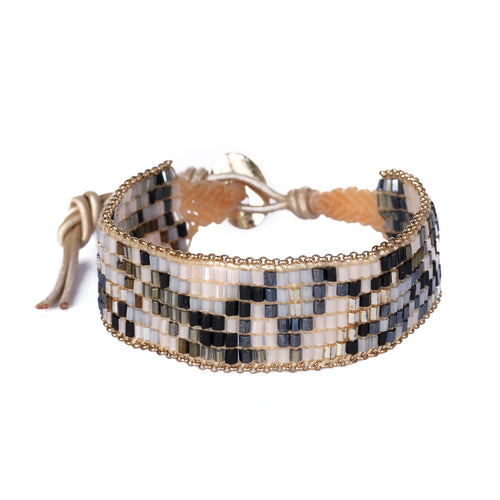 Beige Black Beaded Bracelet JB003