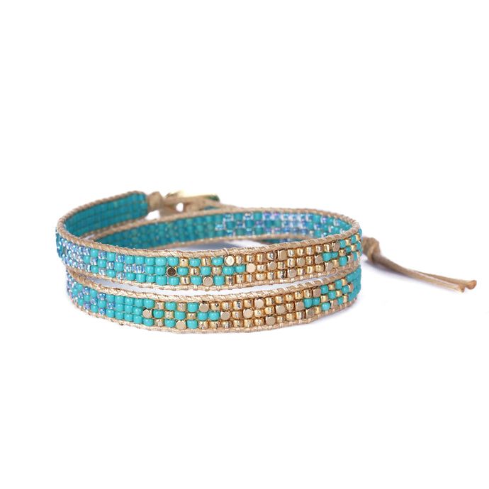 2Wraps Turquoise Beaded Bracelet JB012