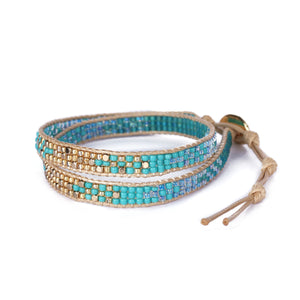 2 Wraps Turquoise Beaded Bracelet JB012