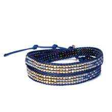 Load image into Gallery viewer, 2Wraps Blue Beaded Bracelet JB011
