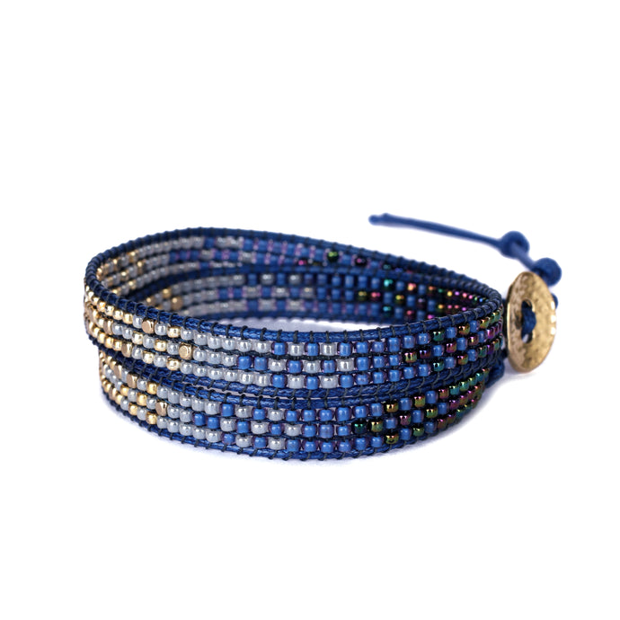2Wraps Blue Beaded Bracelet JB011