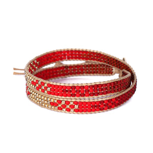 2Wraps Red Beaded Bracelet JB013