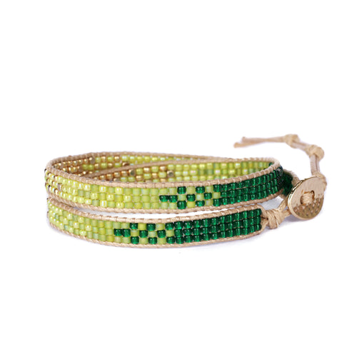 2Wraps Green Beaded Bracelet JB014