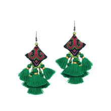 Load image into Gallery viewer, Boho Green Tassel Earring JE070