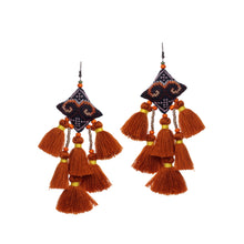 Load image into Gallery viewer, Boho Brown Tassel Earring JE073