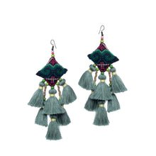 Load image into Gallery viewer, Boho Pastel Green Tassel Earring JE075