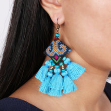 Load image into Gallery viewer, Boho Turquoise Tassel Earring JE071