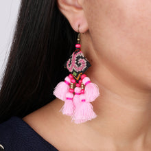 Load image into Gallery viewer, Boho Small baby Pink Tassel Earring JE068