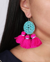 Load image into Gallery viewer, Boho Turquoise Beaded Pink Tassel Earring JE076