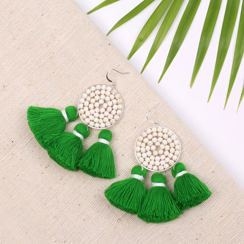 Boho White Beaded Green Tassel Earring JE077