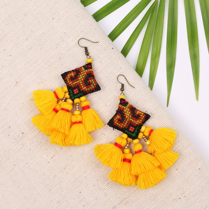Boho Yellow Tassel Earring JE069