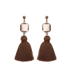Brown Bead Brown Tassel Stud Earring JE064