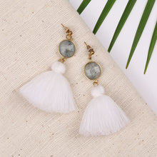 Load image into Gallery viewer, Grey Stone White Tassels Stud Earring JE061