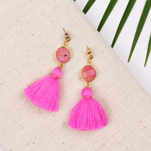 Load image into Gallery viewer, Pink Stone Pink Tassel Stud Earring JE063