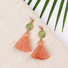 Load image into Gallery viewer, Green Stone Peach Tassel Stud Earring JE060
