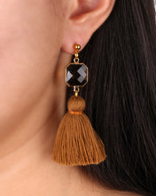 Load image into Gallery viewer, Brown Bead Brown Tassel Stud Earring JE064