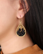 Load image into Gallery viewer, Black drop earrings ER001BK