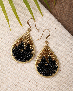 Black drop earrings ER001BK