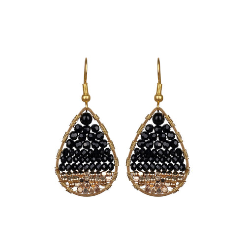 Black Drop Earring JE029