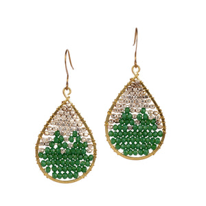 Green drop earrings ER001G