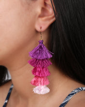 Load image into Gallery viewer, Purple tassels earrings JE018