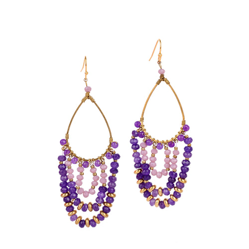 Purple Chandelier Earrings JE010