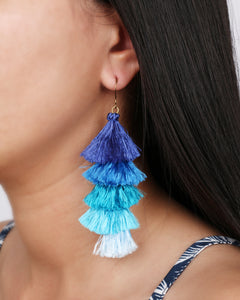 Boho blue tassels earrings JE020