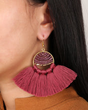 Load image into Gallery viewer, Boho Maroon Fringe Earring JE002M