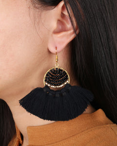 Boho Black Fringe earrings JE002BK