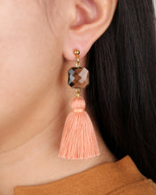 Load image into Gallery viewer, Crystal Bead Peach Tassels Stud Earring JE003