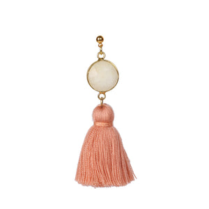 Light Yellow Stone Peach Tassels Stud Earring JE004