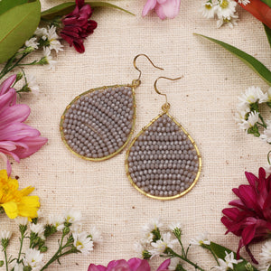 Grey Crystal Beaded Drop Earring JE055