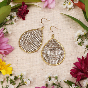 Two Tone Silver Gold Beaded Drop Earring JE058