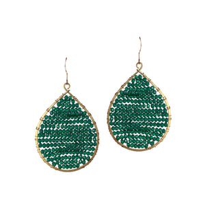 Green Crystal Beaded Drop Earrings JE053