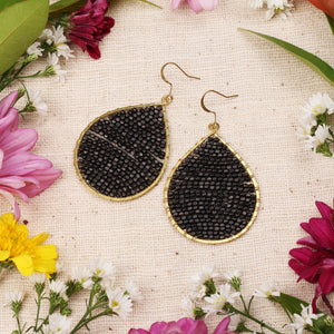 Black Matte Beaded Drop Earring JE056