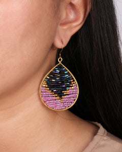 Two Tone Purple Beaded Drop Earrings JE048
