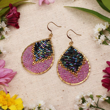 Load image into Gallery viewer, Two Tone Purple Beaded Drop Earrings JE048