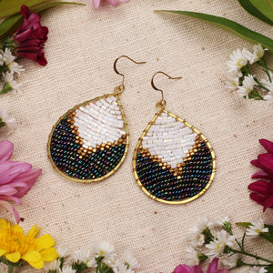 Two Tone Beaded Drop Earrings JE045