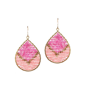 Two Pink Tone Beaded Drop Earrings JE046