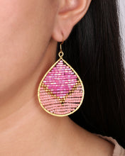 Load image into Gallery viewer, Two Pink Tone Beaded Drop Earrings JE046
