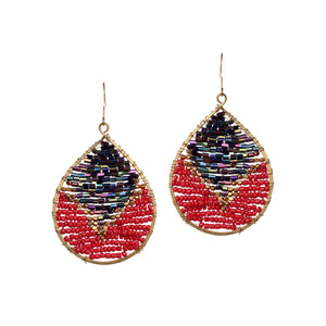 Two Tone Navy Red Beaded Drop Earrings JE050