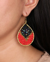 Load image into Gallery viewer, Two Tone Navy Red Beaded Drop Earrings JE050