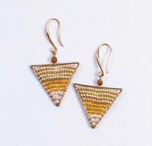 Triangle gold beads Earrings JE012